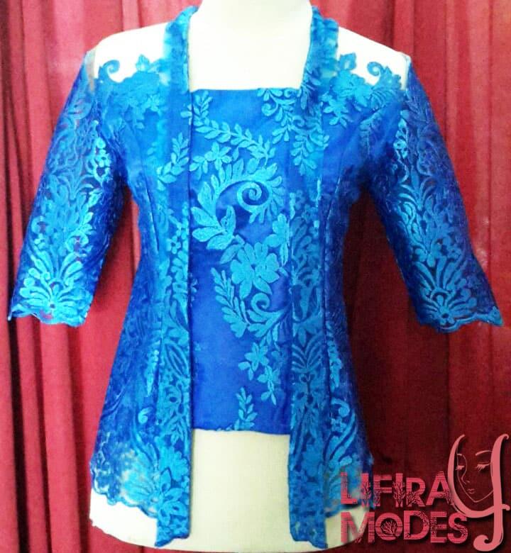 Chic Blue and Swirl Kutu Baru Kebaya by LIFIRA Modes, Penjahit Wanita Malang