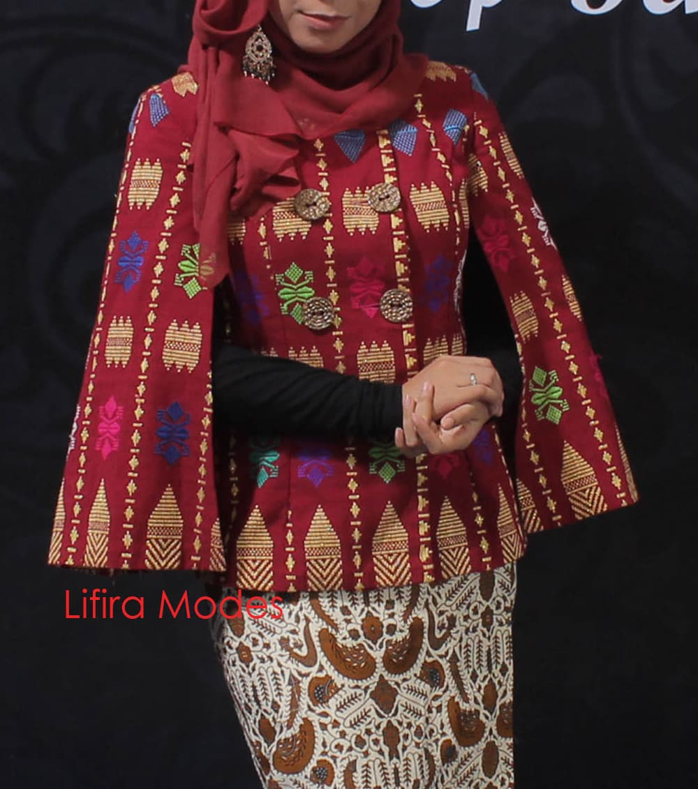 Classy Hot Red Songket Cape By Lifira Modes